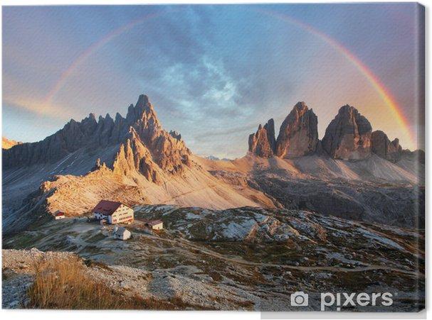 Canvas Dolomieten berg in Italië bij zonsondergang - Tre Cime di Lavaredo - Regenbogen