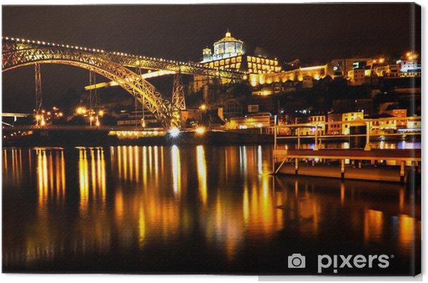 Canvas Dom Luis I Brug over de rivier de Douro in Porto at Night - Europa