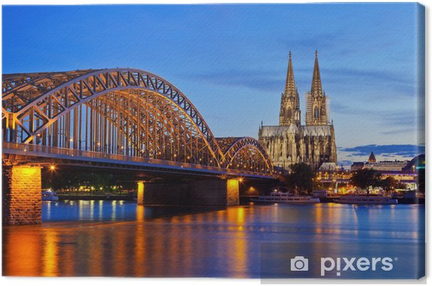Canvas Dom van Keulen en Hohenzollern Bridge - Duitsland