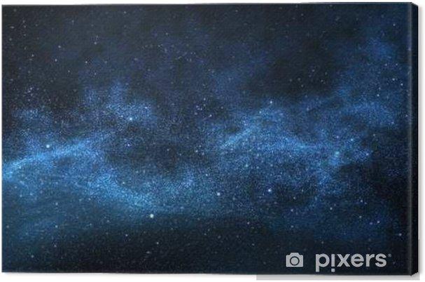 Canvas Donkere nachtelijke hemel met fonkelende sterren en planeten, illustratie - Wetenschap