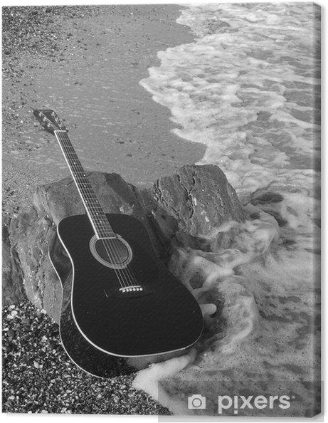 Canvas Dramatische zwart en wit beuken gitaar - Thema's