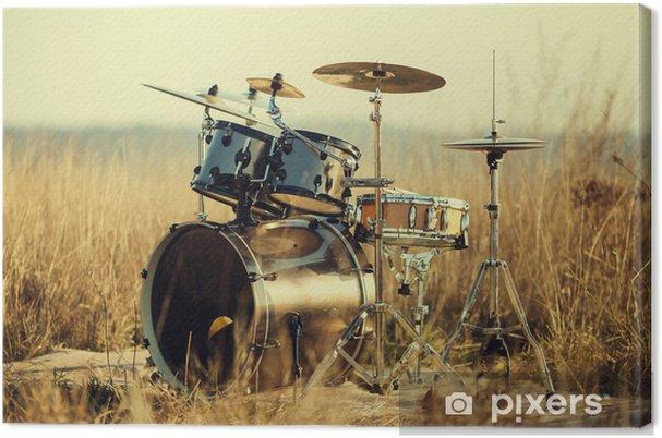 Canvas Drumstel op verse lucht - Muziek