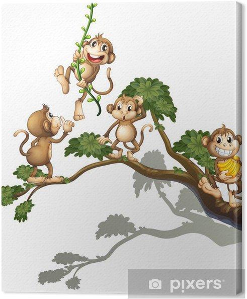 Canvas Een boom met vier apen - Muursticker