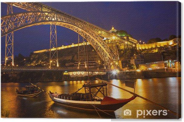 Canvas Een brug in Portugal in de nacht - Vakantie