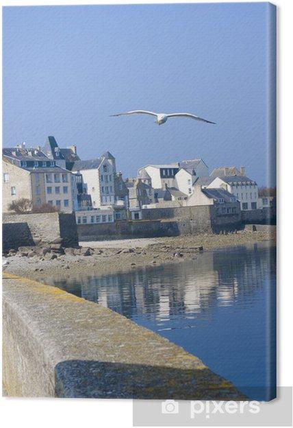 Canvas Een deel van de kustlijn in Roscoff, Bretagne - Water