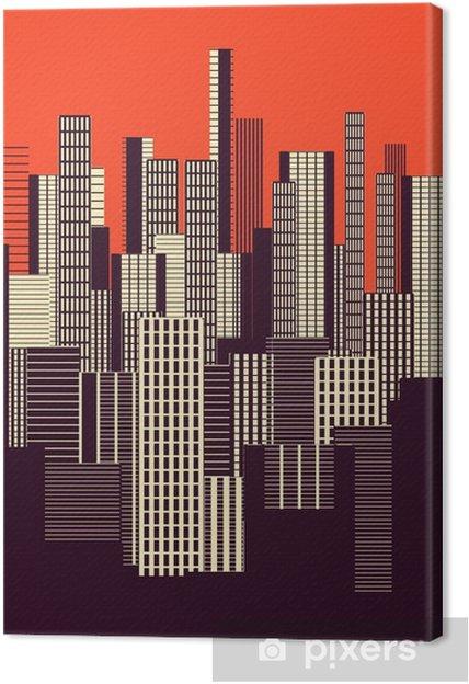 Canvas Een drie kleuren grafische abstracte stedelijke landschap poster in oranje en bruin - Landschappen