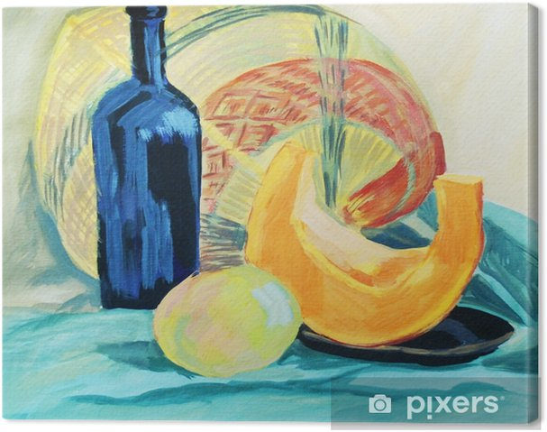 Canvas Een fles wijn en verse groenten op draperie achtergrond - Hobby's en Vrije tijd