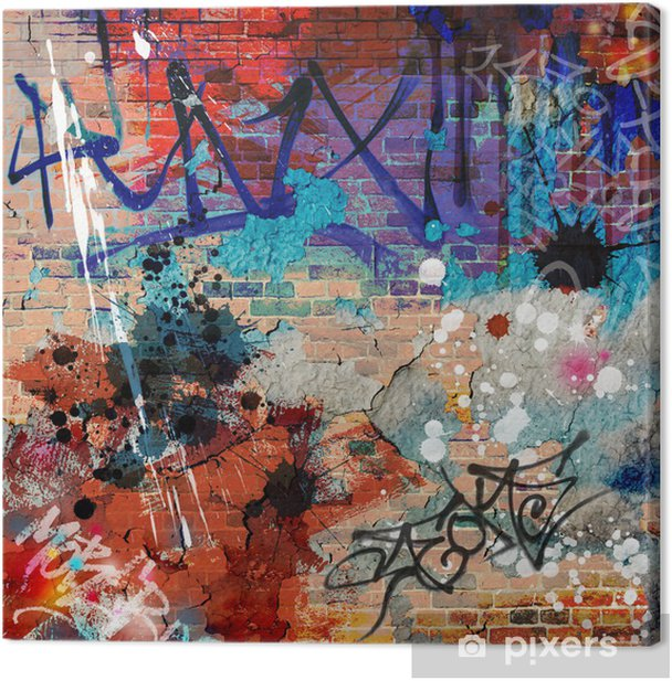 Canvas Een Messy Graffiti Wall Achtergrond - Thema's