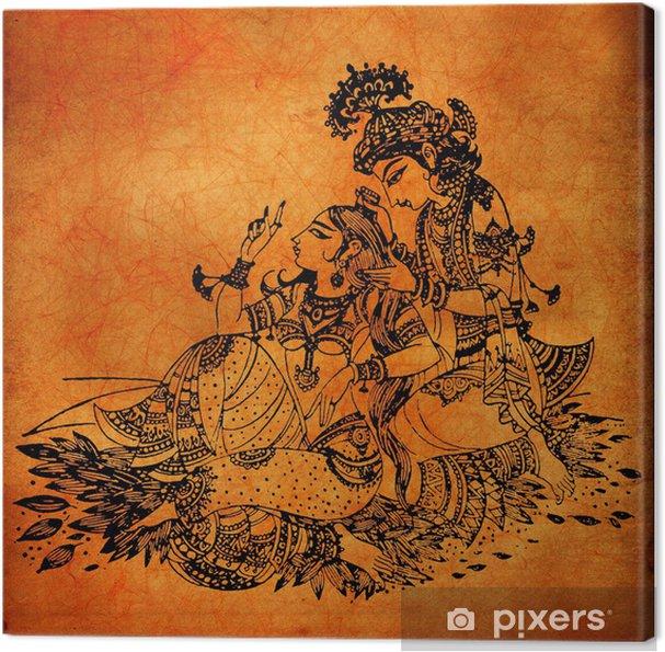Canvas Een oude Radha Krishna schilderijen - Gelukkig
