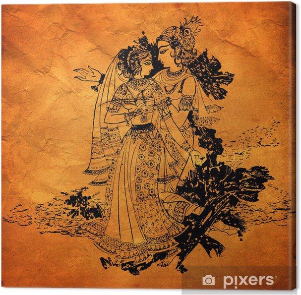 Canvas Een oude Radha Krishna schilderijen - Thema's