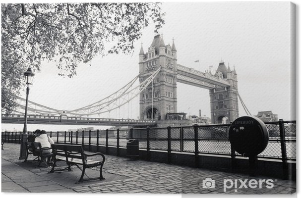 Canvas Een zwart-wit weergave van Tower Bridge - Thema's