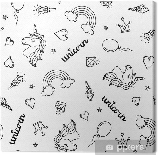 Kleurplaat Katten En Paarden Canvas Eenhoorn Regenboog En Harten Naadloze Patroon Hand