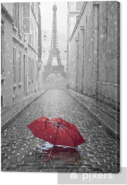 Canvas Eiffel toren van de straat van Parijs -