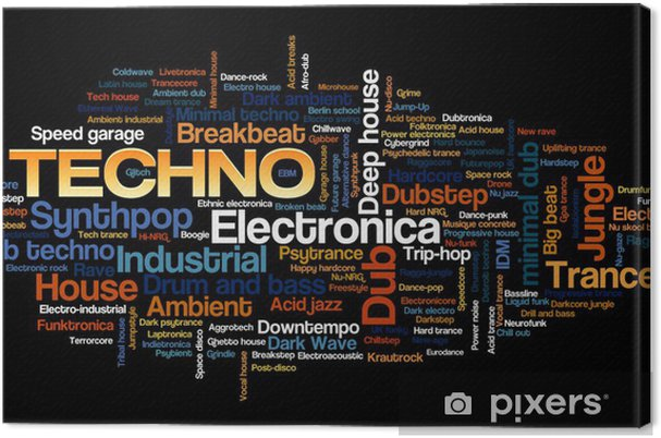 Canvas Electronic Techno Music Styles Word Cloud Bubble Tag Boom - jazz