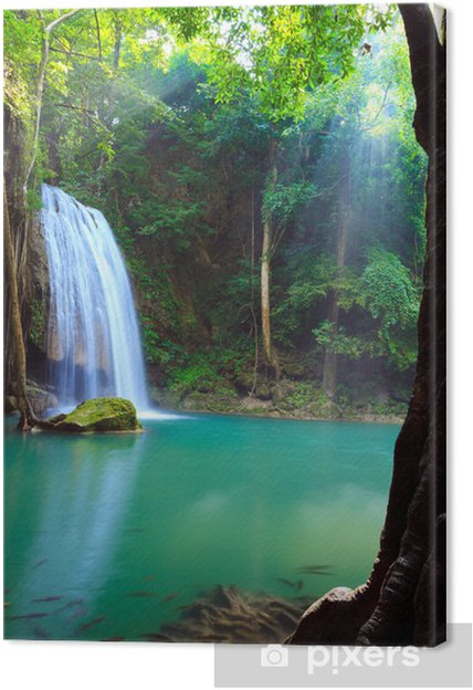 Canvas Erawan Waterfall, Kanchanaburi, Thailand - Thema's