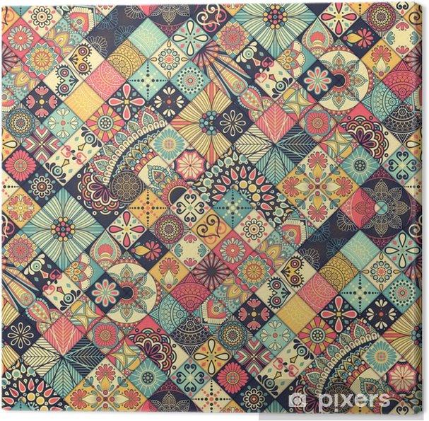 Canvas Etnische bloemen naadloos patroon - Grafische Bronnen