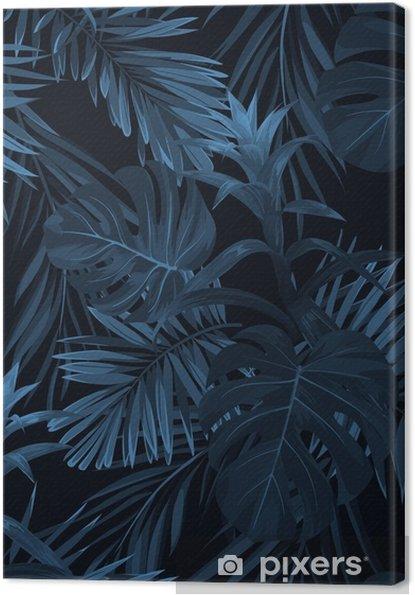 Canvas Exotische tropische vrctor achtergrond met Hawaiiaanse planten en bloemen. naadloos indigo tropisch patroon met monstera en sabal palmbladen, guzmania bloemen. - Bloemen en Planten
