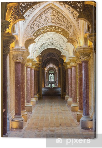 Canvas Fairytale gang van Monserrate Palace in Sintra stad, Portugal - Thema's