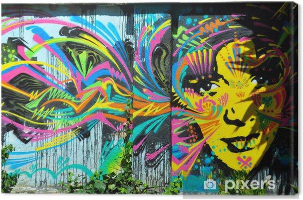 Canvas Felgekleurde muurschildering van het gezicht, Bogota, Colombia - Kunst en Creatie