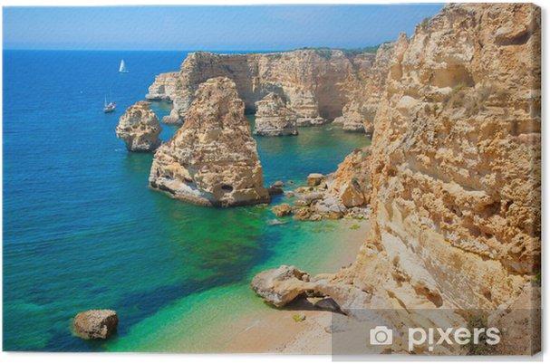 Canvas Felsen in de Algarve, Portugal - Europa