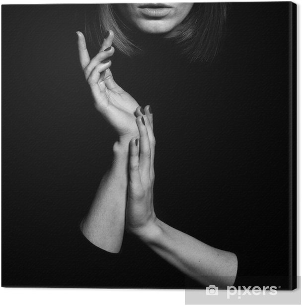 Canvas Femme fatale concept. Oude klassieke films actrice stijl. - Mensen