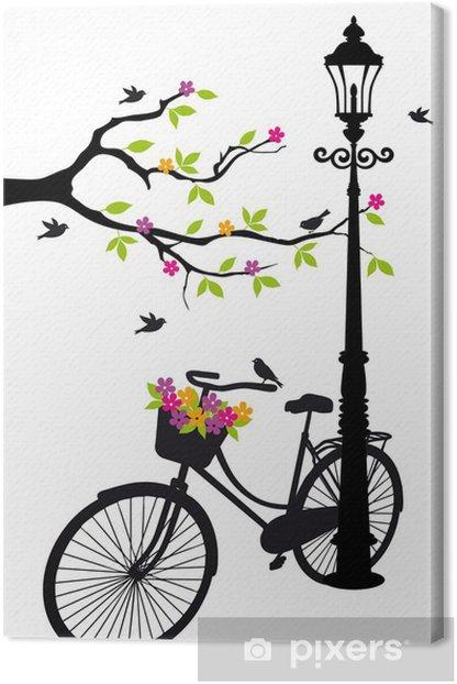 Canvas Fiets met lamp, bloemen en boom, vector -