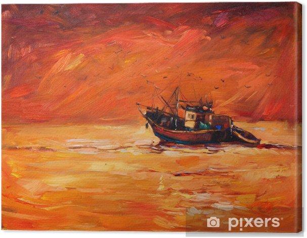 Canvas Fishing boat - Kunst en Creatie