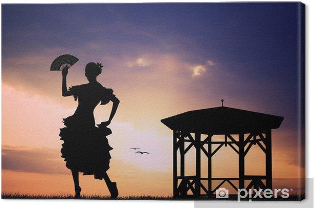 Canvas Flamenco bij zonsondergang - Vrouwen