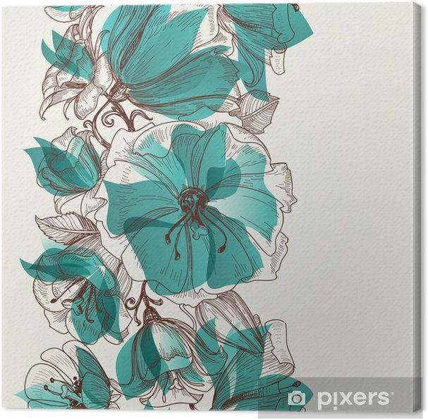 Canvas Flower naadloos patroon vector - Stijlen