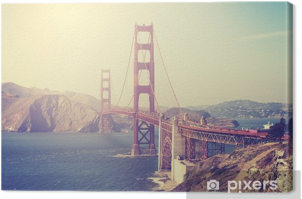 Canvas Foto met vintage-tint van de Golden Gate Bridge - Reizen