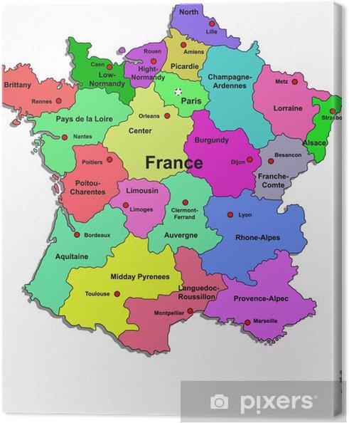 frankrijk kaart Canvas Frankrijk kaart op een witte achtergrond • Pixers®   We