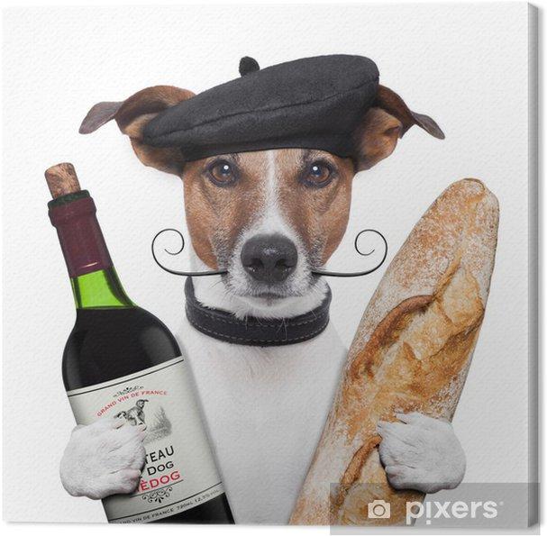 Canvas Franse hond wijn stokbrood baret - Vakantie