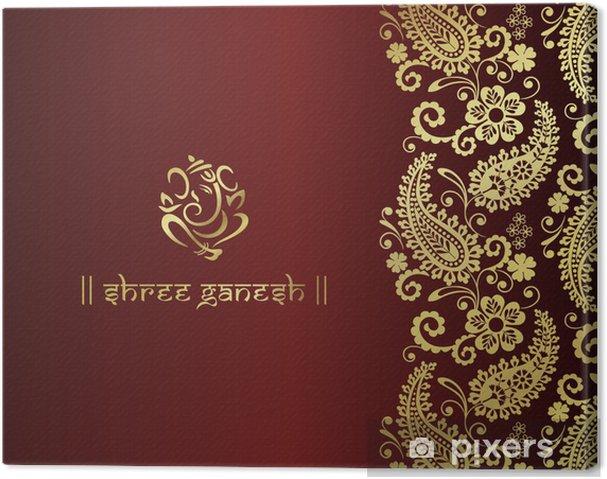 Canvas Ganesh, traditionele Hindoe bruiloft kaart ontwerp, India - Viering