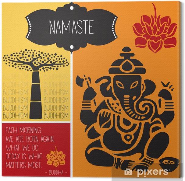 Canvas Ganesha namaste boeddhisme vectorillustratie - Religie