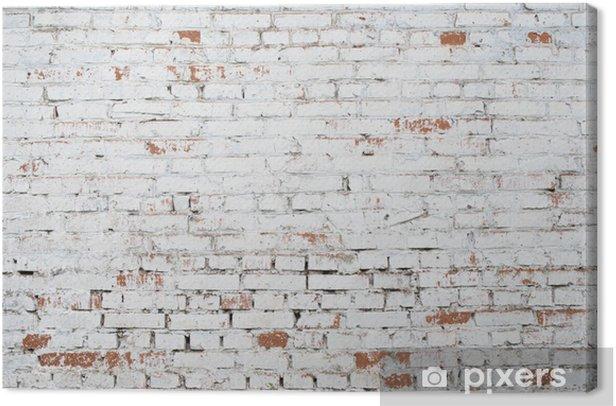 Canvas Gebarsten witte grunge bakstenen muur geweven achtergrond gekleurd oud - Thema's