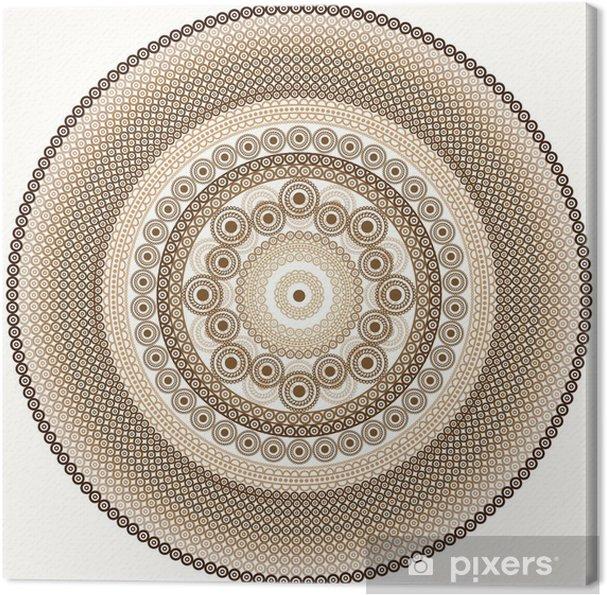 Canvas Gedetailleerde Henna Mandala ontwerp - Muursticker