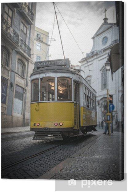 Canvas Gele tram in Lissabon - Onderweg