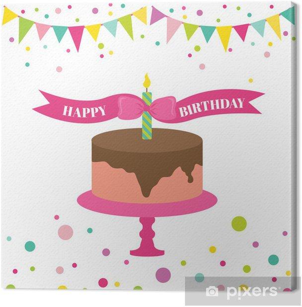 Canvas Gelukkige verjaardag en de Partij van de - met plaats voor uw tekst - Viering