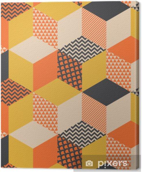 Canvas Geometrische naadloze patroon vectorillustratie in retro 60s stijl. vintage jaren 1970 meetkunde vormen grafische abstracte herhaalbare motief voor tapijt, inpakpapier, stof, achtergrond. - Grafische Bronnen