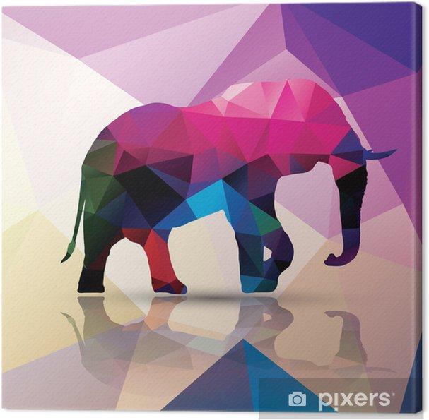 Canvas Geometrische veelhoekig olifant, patroon ontwerp, vector - Thema's