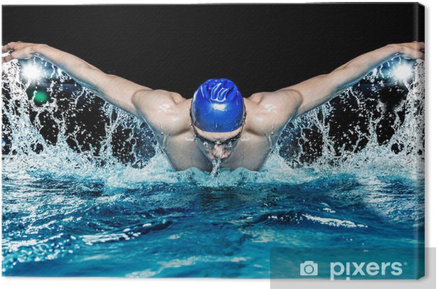 Canvas Gespierde jonge man in blauwe dop in zwembad - Individuele sport