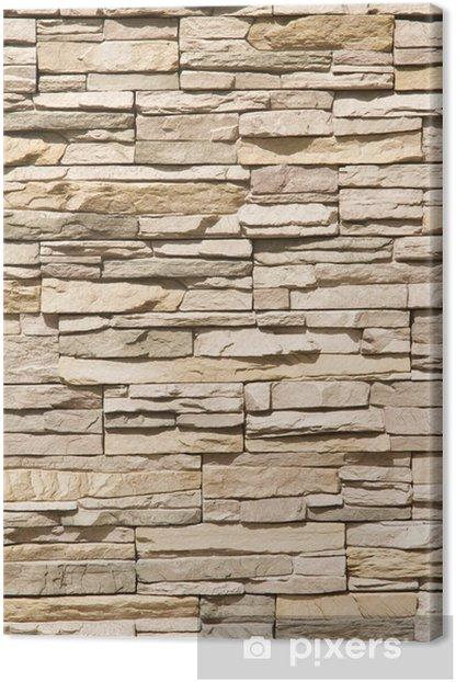 Canvas Gestapelde stenen muur achtergrond verticale -