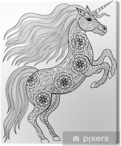 Canvas Getrokken Magic Unicorn Voor Volwassen Anti Stress Kleurplaat