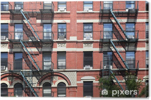 Canvas gevel van het oude huis met brandtrap in new york u2022 pixers