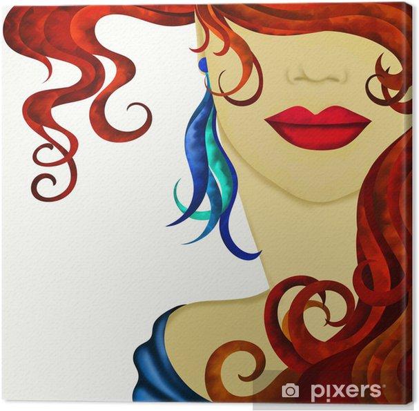Canvas Gezicht van de vrouw met rood haar - Thema's