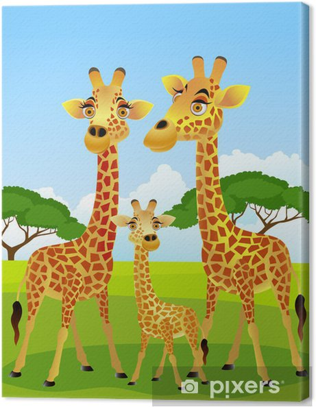 Canvas Giraffamilie cartoon - Student