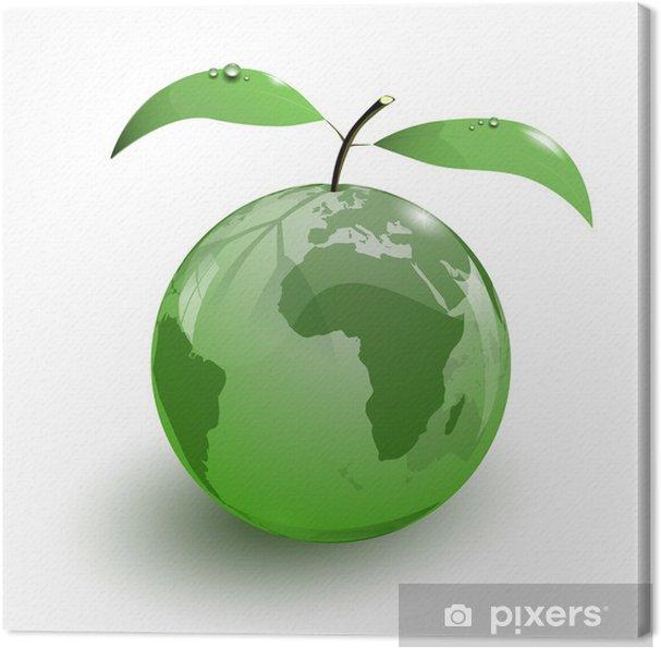 Canvas Glazen appel aarde kaart 3D - Tekens en Symbolen