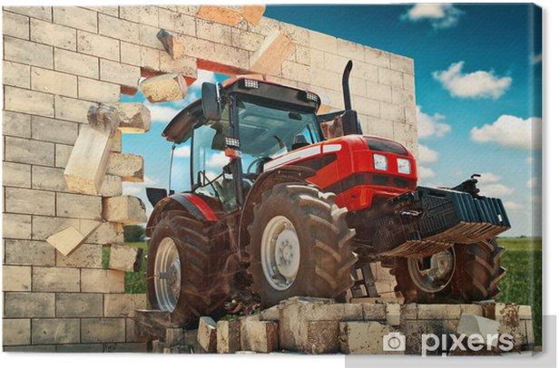 Canvas Gloednieuwe tractor doorbreken van de muur - Thema's