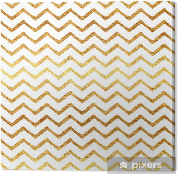 Canvas Gold Faux Folie Chevron Metallic witte achtergrond Patroon - Achtergrond