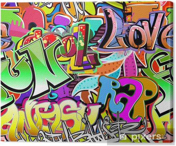 Canvas Graffiti muur. Stedelijke kunst vector achtergrond. Naadloze patroon - Thema's